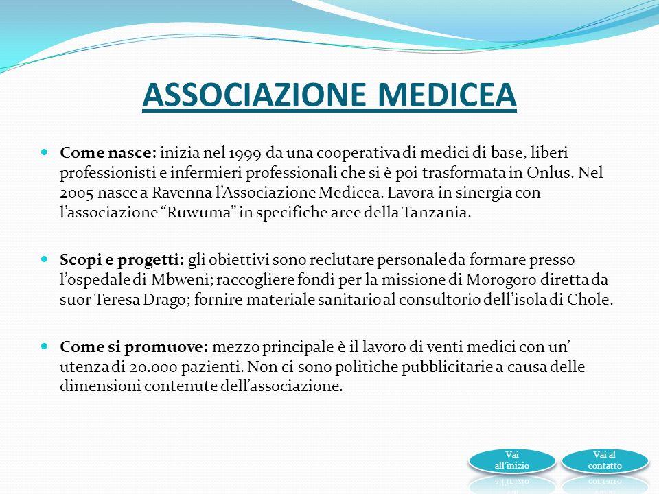 ASSOCIAZIONE MEDICEA Come nasce: inizia nel 1999 da una cooperativa di medici di base, liberi professionisti e infermieri professionali che si è poi trasformata in Onlus.