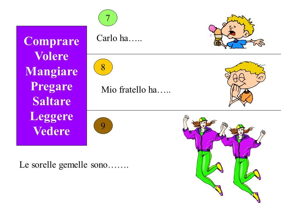 Comprare Volere Mangiare Pregare Saltare Leggere Vedere 7 8 9 Carlo ha…..