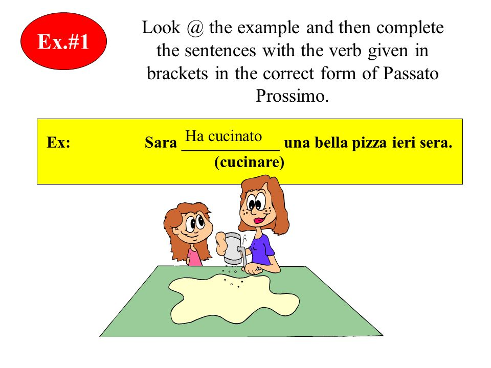 Ex.#1 Look @ the example and then complete the sentences with the verb given in brackets in the correct form of Passato Prossimo.