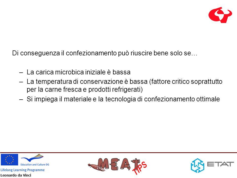 Leonardo da Vinci Di conseguenza il confezionamento può riuscire bene solo se… –La carica microbica iniziale è bassa –La temperatura di conservazione