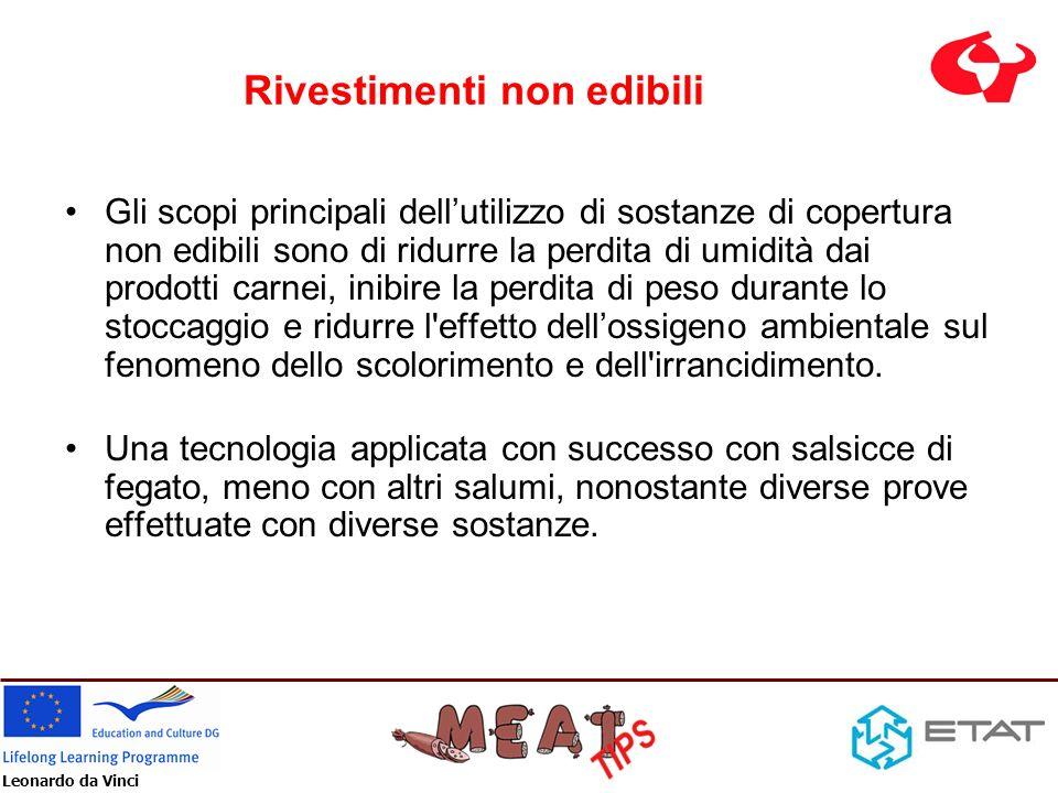Leonardo da Vinci Rivestimenti non edibili Gli scopi principali dellutilizzo di sostanze di copertura non edibili sono di ridurre la perdita di umidit