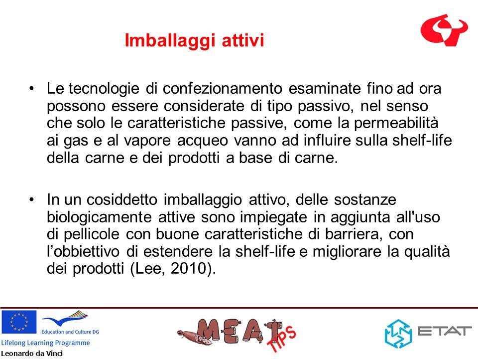 Leonardo da Vinci Imballaggi attivi Le tecnologie di confezionamento esaminate fino ad ora possono essere considerate di tipo passivo, nel senso che s