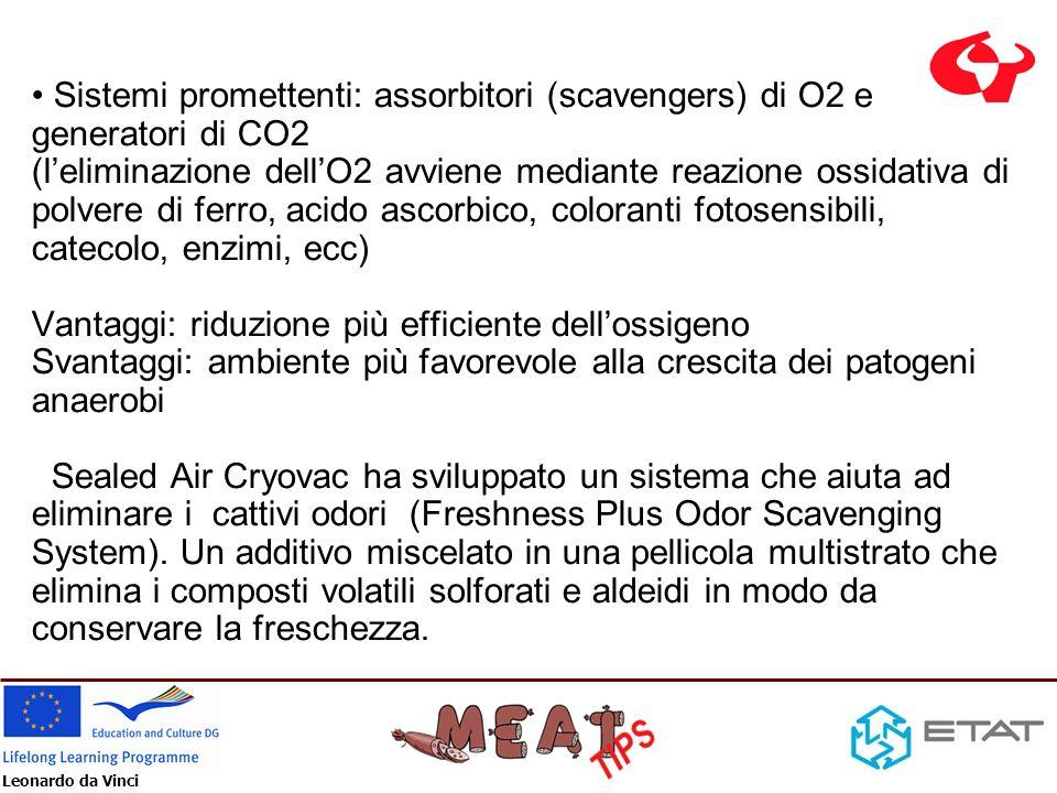 Leonardo da Vinci Sistemi promettenti: assorbitori (scavengers) di O2 e generatori di CO2 (leliminazione dellO2 avviene mediante reazione ossidativa d