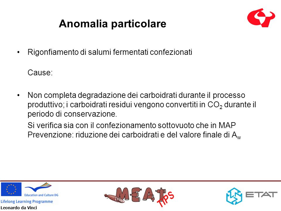 Leonardo da Vinci Anomalia particolare Rigonfiamento di salumi fermentati confezionati Cause: Non completa degradazione dei carboidrati durante il pro