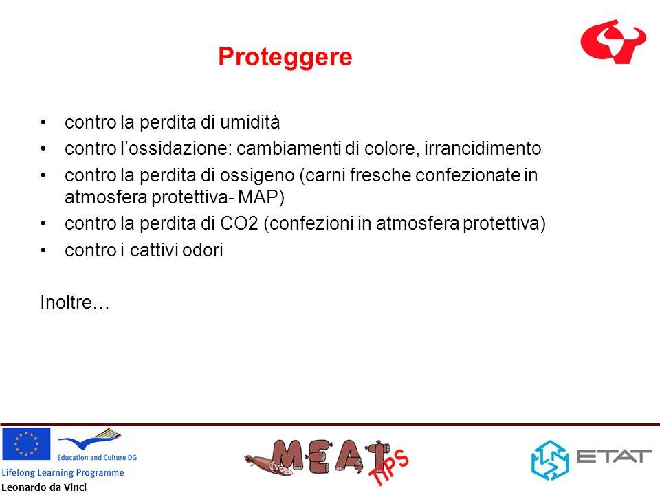 Leonardo da Vinci Proteggere contro la perdita di umidità contro lossidazione: cambiamenti di colore, irrancidimento contro la perdita di ossigeno (ca