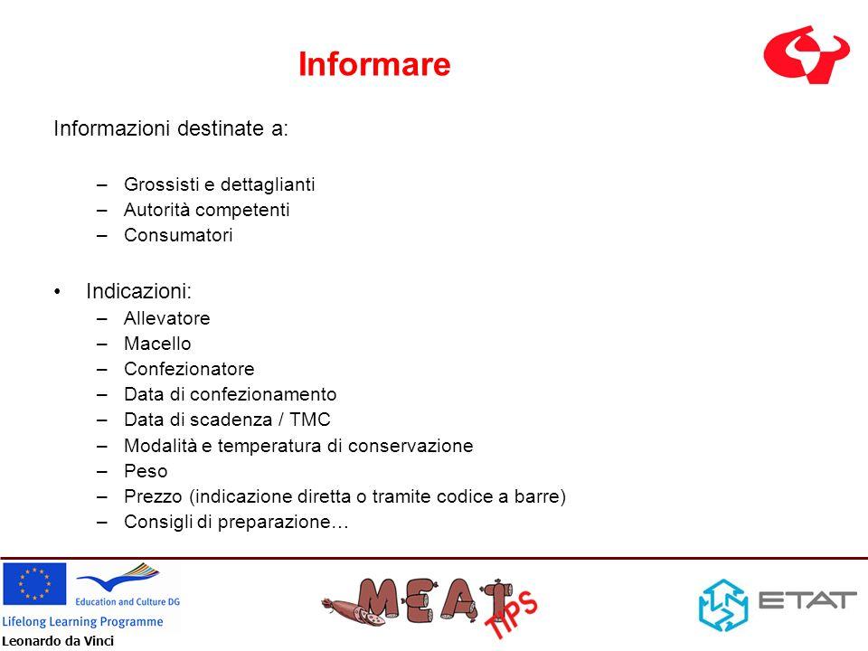 Leonardo da Vinci Informare Informazioni destinate a: –Grossisti e dettaglianti –Autorità competenti –Consumatori Indicazioni: –Allevatore –Macello –C