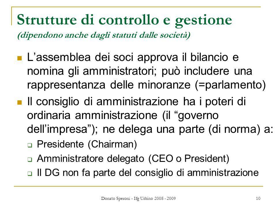 Donato Speroni - Ifg Urbino 2008 - 2009 10 Strutture di controllo e gestione (dipendono anche dagli statuti dalle società) Lassemblea dei soci approva
