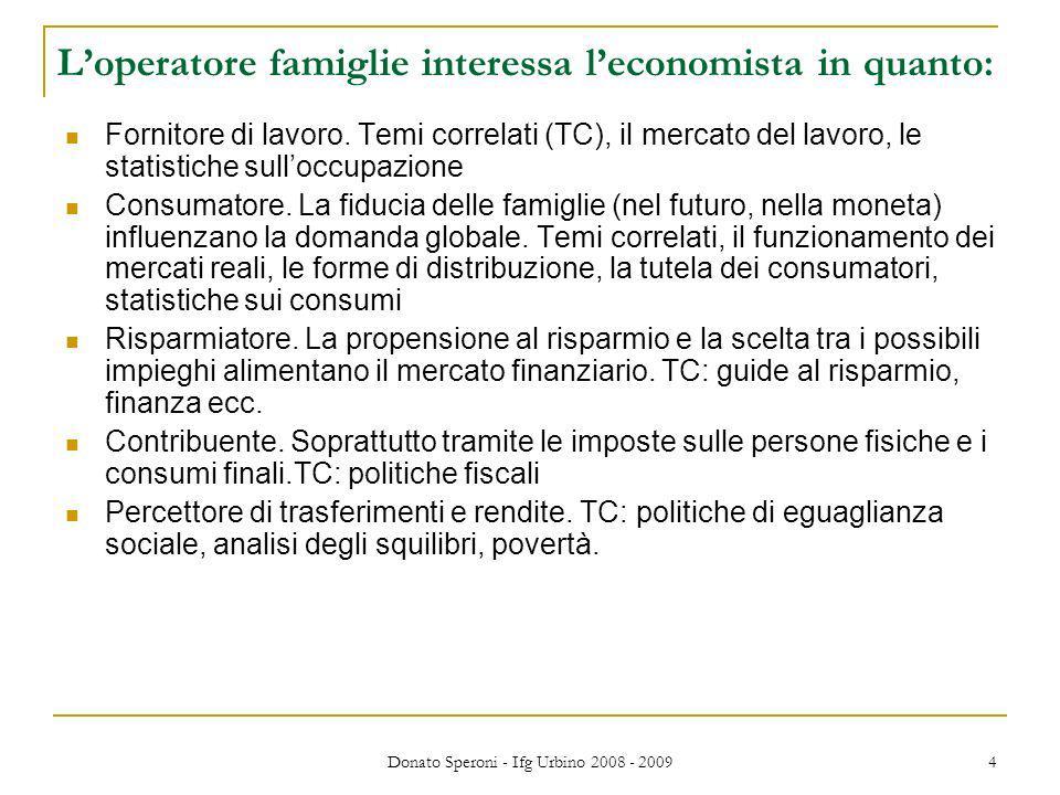 Donato Speroni - Ifg Urbino 2008 - 2009 4 Loperatore famiglie interessa leconomista in quanto: Fornitore di lavoro. Temi correlati (TC), il mercato de