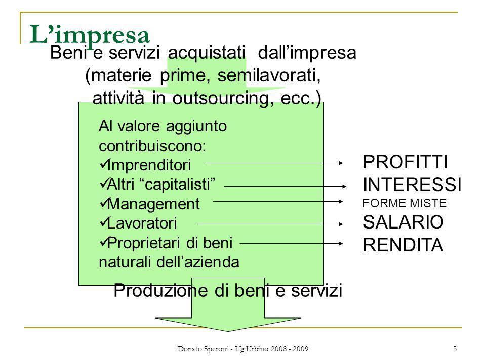 Donato Speroni - Ifg Urbino 2008 - 2009 5 Limpresa Beni e servizi acquistati dallimpresa (materie prime, semilavorati, attività in outsourcing, ecc.)