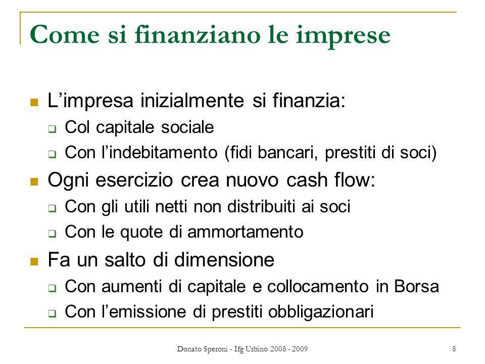 Donato Speroni - Ifg Urbino 2008 - 2009 8 Come si finanziano le imprese Limpresa inizialmente si finanzia: Col capitale sociale Con lindebitamento (fi