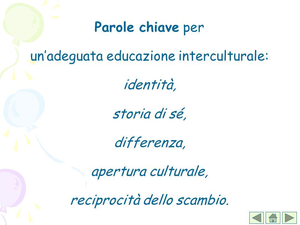 Parole chiave per unadeguata educazione interculturale: identità, storia di sé, differenza, apertura culturale, reciprocità dello scambio.