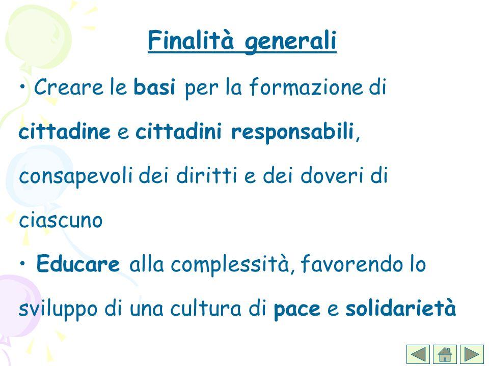 Finalità generali Creare le basi per la formazione di cittadine e cittadini responsabili, consapevoli dei diritti e dei doveri di ciascuno Educare all