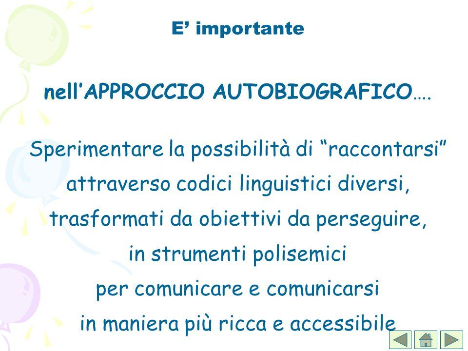 E importante nellAPPROCCIO AUTOBIOGRAFICO…. Sperimentare la possibilità di raccontarsi attraverso codici linguistici diversi, trasformati da obiettivi