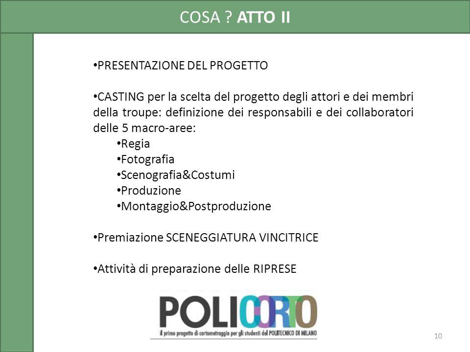 10 PRESENTAZIONE DEL PROGETTO CASTING per la scelta del progetto degli attori e dei membri della troupe: definizione dei responsabili e dei collaborat