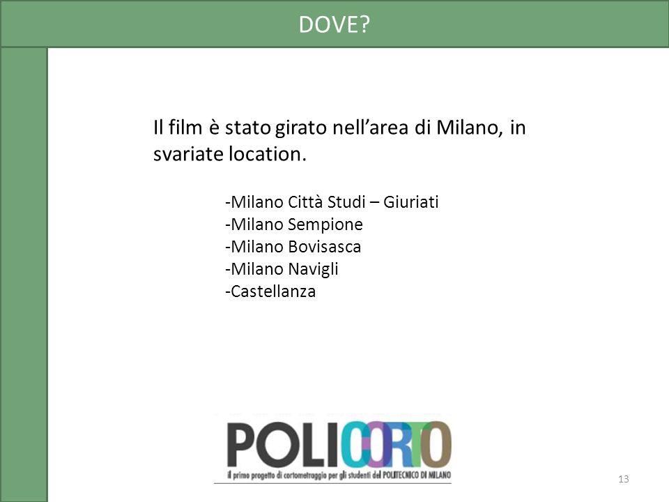 Il film è stato girato nellarea di Milano, in svariate location. DOVE? 13 -Milano Città Studi – Giuriati -Milano Sempione -Milano Bovisasca -Milano Na