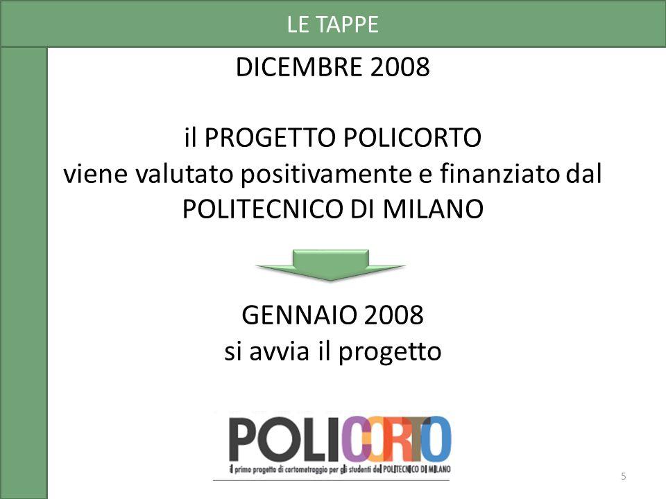 DICEMBRE 2008 il PROGETTO POLICORTO viene valutato positivamente e finanziato dal POLITECNICO DI MILANO GENNAIO 2008 si avvia il progetto LE TAPPE 5