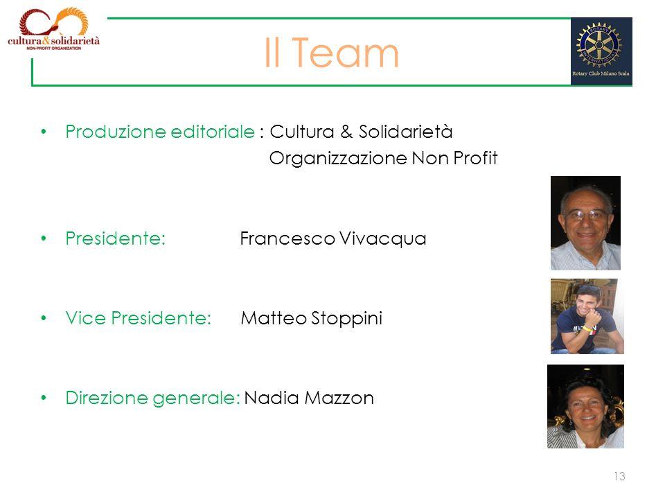 Produzione editoriale : Cultura & Solidarietà Organizzazione Non Profit Presidente: Francesco Vivacqua Vice Presidente: Matteo Stoppini Direzione gene