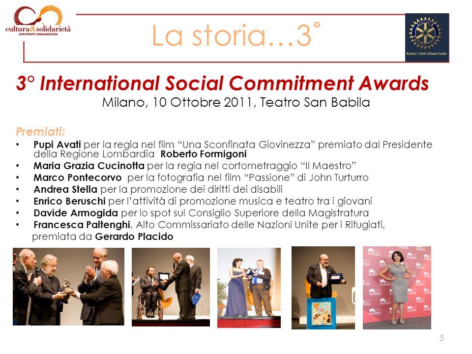 La storia…3˚ 3° International Social Commitment Awards Milano, 10 Ottobre 2011, Teatro San Babila Premiati: Pupi Avati per la regia nel film Una Sconf