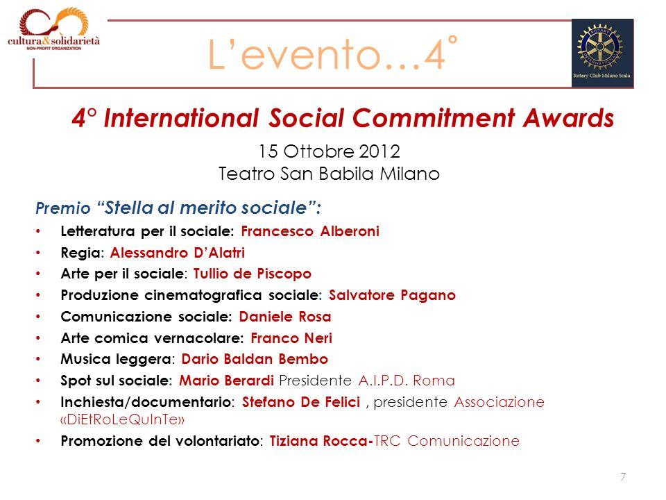 Premio Stella al merito sociale: Letteratura per il sociale: Francesco Alberoni Regia: Alessandro DAlatri Arte per il sociale : Tullio de Piscopo Prod