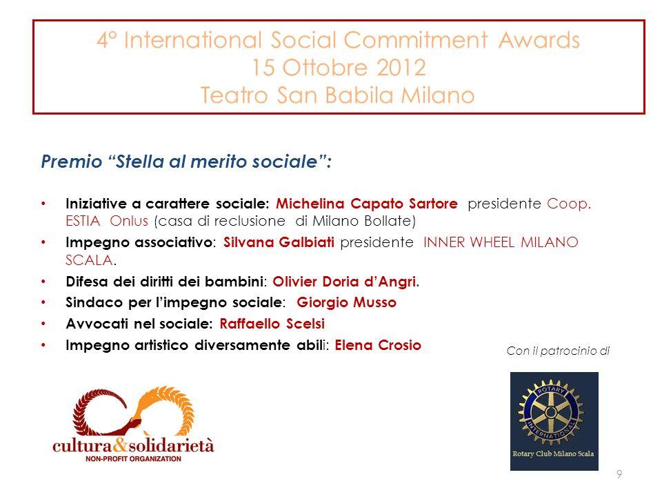 4° International Social Commitment Awards 15 Ottobre 2012 Teatro San Babila Milano Premio Stella al merito sociale: Iniziative a carattere sociale: Michelina Capato Sartore presidente Coop.