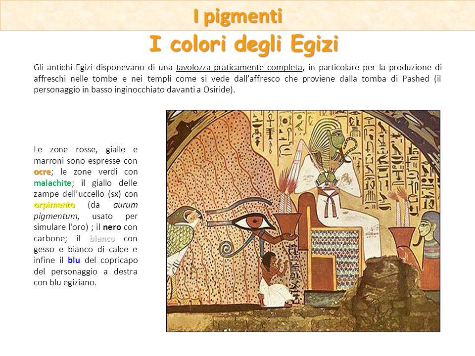 Gli antichi Egizi disponevano di una tavolozza praticamente completa, in particolare per la produzione di affreschi nelle tombe e nei templi come si v