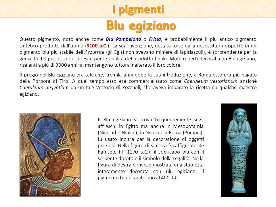 Questo pigmento, noto anche come Blu Pompeiano o Fritta, è probabilmente il più antico pigmento sintetico prodotto dalluomo (3100 a.C.). La sua invenz