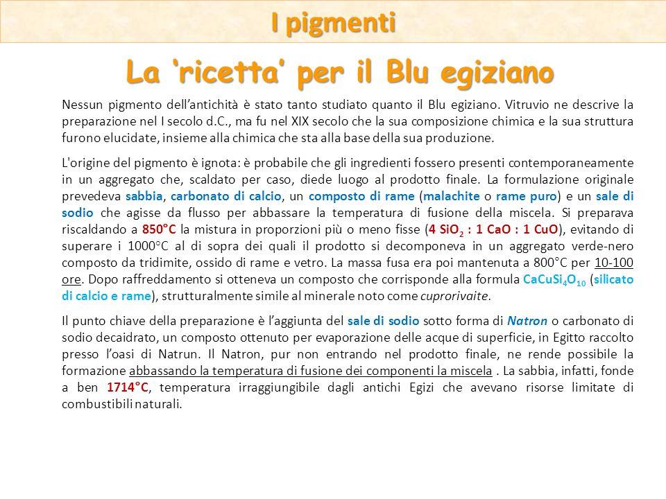 Nessun pigmento dellantichità è stato tanto studiato quanto il Blu egiziano. Vitruvio ne descrive la preparazione nel I secolo d.C., ma fu nel XIX sec