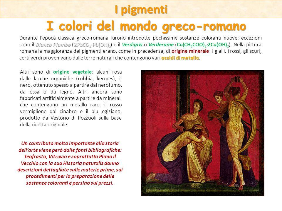 Bianco Piombo 2PbCO 3 ·Pb(OH) 2 ossidi di metallo Durante lepoca classica greco-romana furono introdotte pochissime sostanze coloranti nuove: eccezion