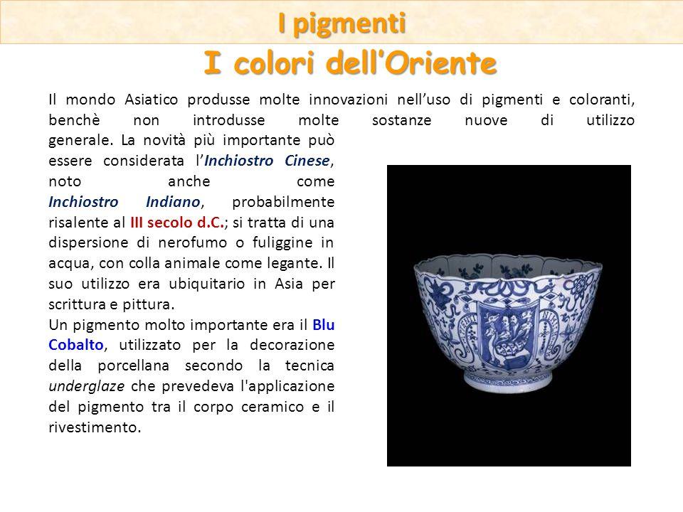 Il mondo Asiatico produsse molte innovazioni nelluso di pigmenti e coloranti, benchè non introdusse molte sostanze nuove di utilizzo generale. La novi