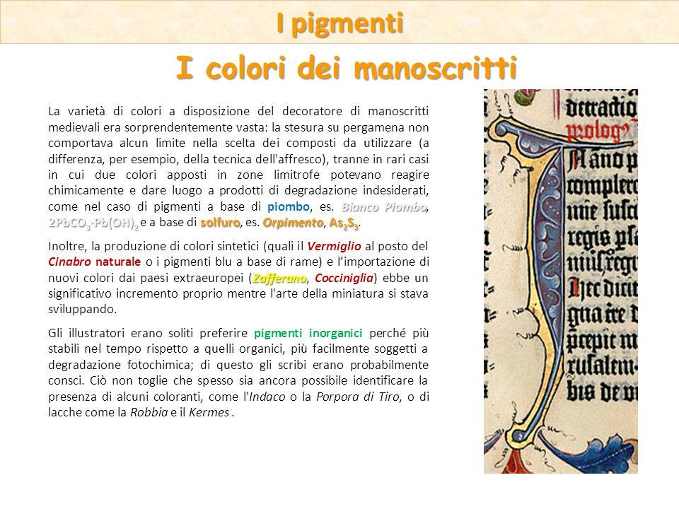 Bianco Piombo 2PbCO 3 ·Pb(OH) 2 solfuroOrpimentoAs 2 S 3 La varietà di colori a disposizione del decoratore di manoscritti medievali era sorprendentem