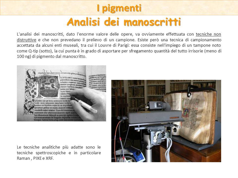 Le tecniche analitiche più adatte sono le tecniche spettroscopiche e in particolare Raman, PIXE e XRF. L'analisi dei manoscritti, dato l'enorme valore