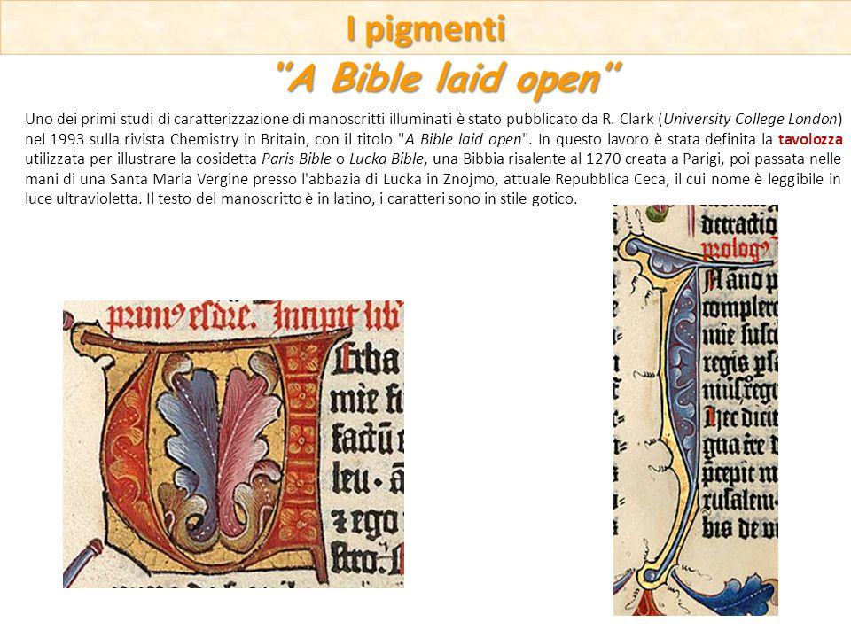 Uno dei primi studi di caratterizzazione di manoscritti illuminati è stato pubblicato da R. Clark (University College London) nel 1993 sulla rivista C