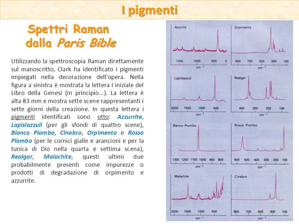 Utilizzando la spettroscopia Raman direttamente sul manoscritto, Clark ha identificato i pigmenti impiegati nella decorazione dell'opera. Nella figura