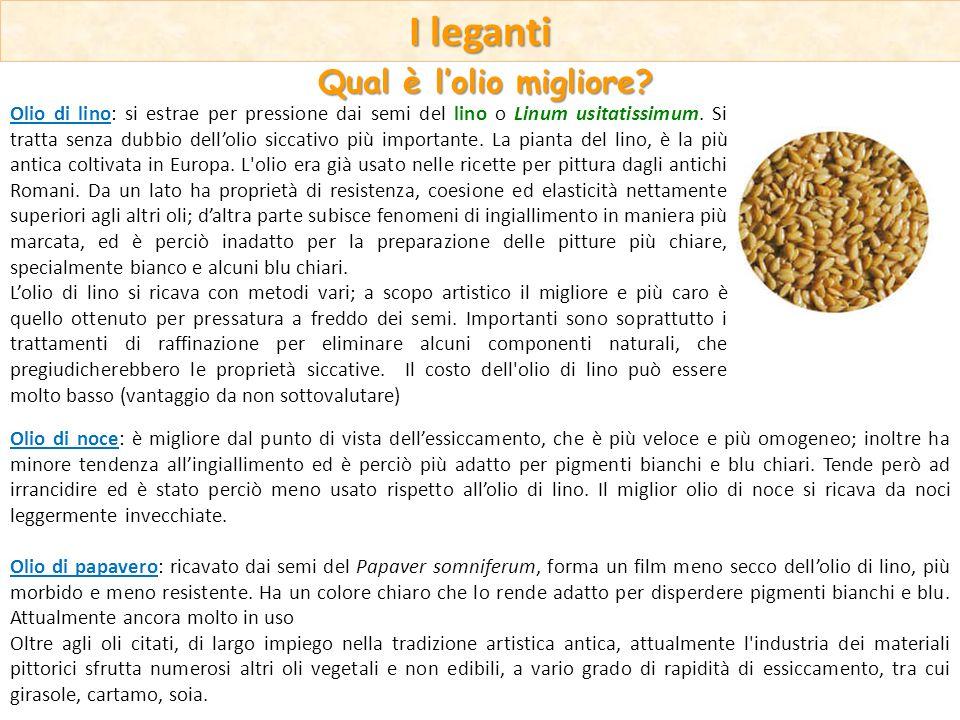 I leganti Qual è lolio migliore? Olio di lino: si estrae per pressione dai semi del lino o Linum usitatissimum. Si tratta senza dubbio dellolio siccat