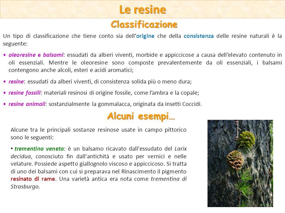 Le resine Un tipo di classificazione che tiene conto sia dellorigine che della consistenza delle resine naturali è la seguente: oleoresine e balsami: