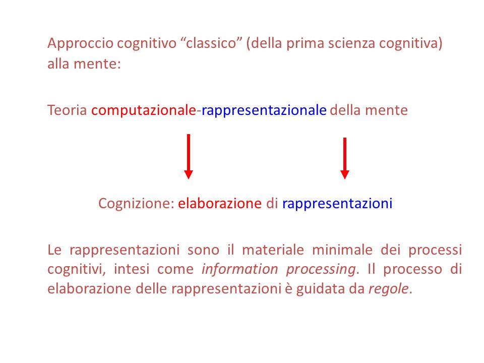Approccio cognitivo classico (della prima scienza cognitiva) alla mente: Teoria computazionale-rappresentazionale della mente Cognizione: elaborazione