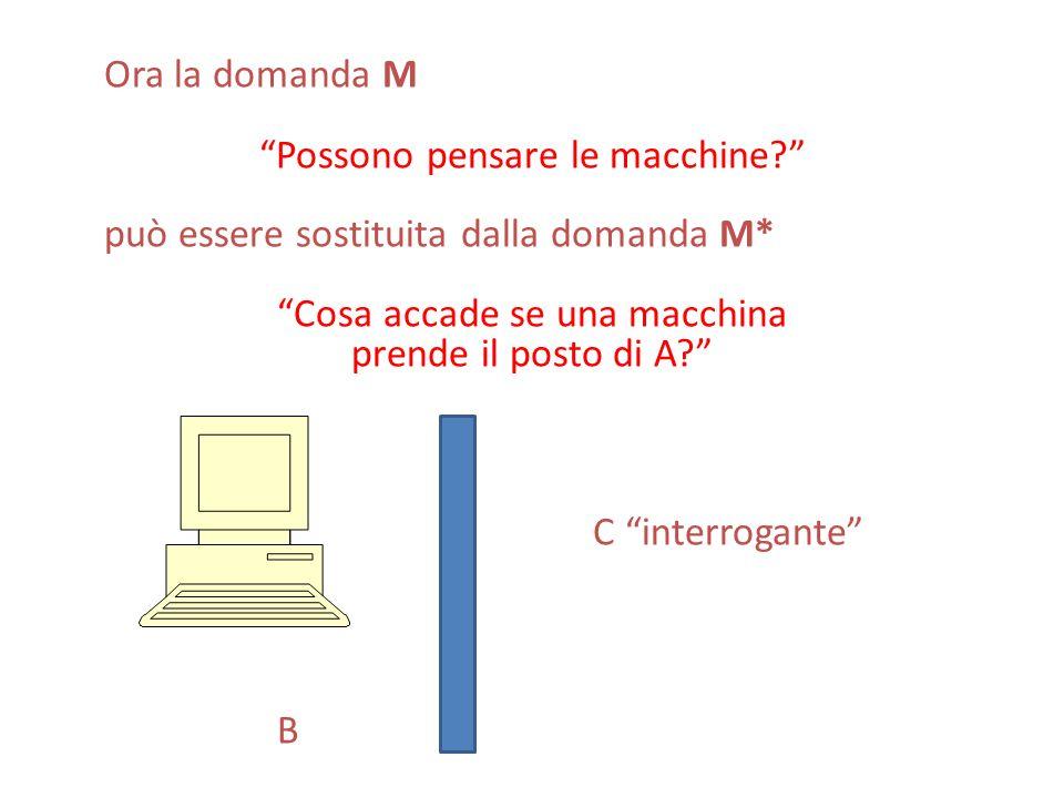 Ora la domanda M Possono pensare le macchine? può essere sostituita dalla domanda M* Cosa accade se una macchina prende il posto di A? C interrogante
