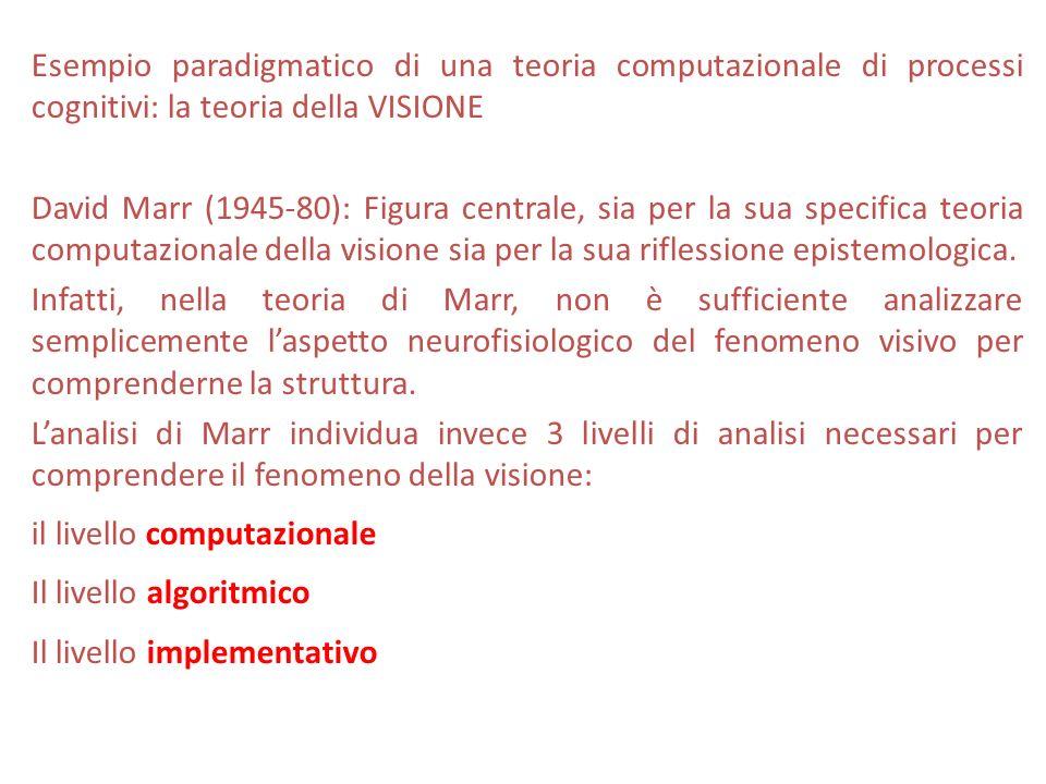 Esempio paradigmatico di una teoria computazionale di processi cognitivi: la teoria della VISIONE David Marr (1945-80): Figura centrale, sia per la su