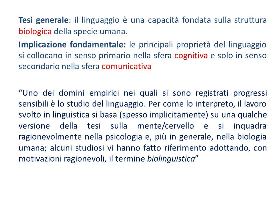 Tesi generale: il linguaggio è una capacità fondata sulla struttura biologica della specie umana. Implicazione fondamentale: le principali proprietà d