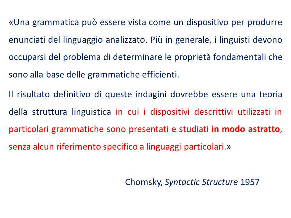 «Una grammatica può essere vista come un dispositivo per produrre enunciati del linguaggio analizzato. Più in generale, i linguisti devono occuparsi d