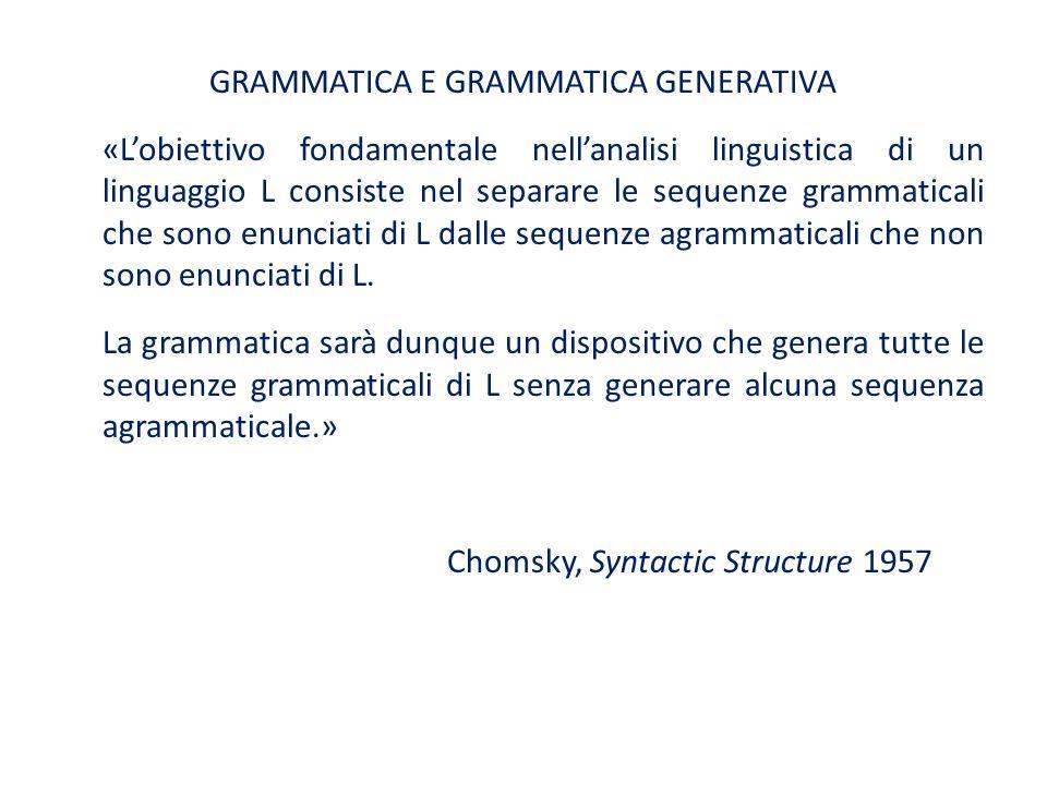 GRAMMATICA E GRAMMATICA GENERATIVA «Lobiettivo fondamentale nellanalisi linguistica di un linguaggio L consiste nel separare le sequenze grammaticali