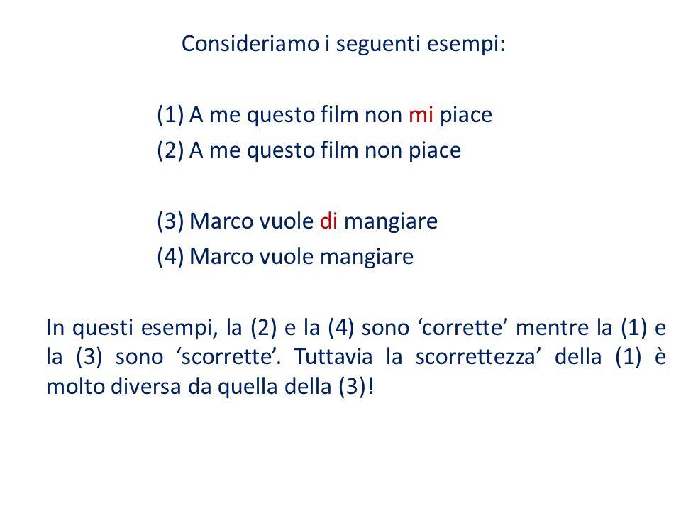 Consideriamo i seguenti esempi: (1) A me questo film non mi piace (2) A me questo film non piace (3) Marco vuole di mangiare (4) Marco vuole mangiare