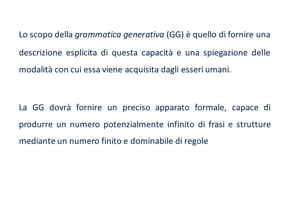 Lo scopo della grammatica generativa (GG) è quello di fornire una descrizione esplicita di questa capacità e una spiegazione delle modalità con cui es