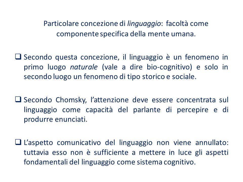 Particolare concezione di linguaggio: facoltà come componente specifica della mente umana. Secondo questa concezione, il linguaggio è un fenomeno in p