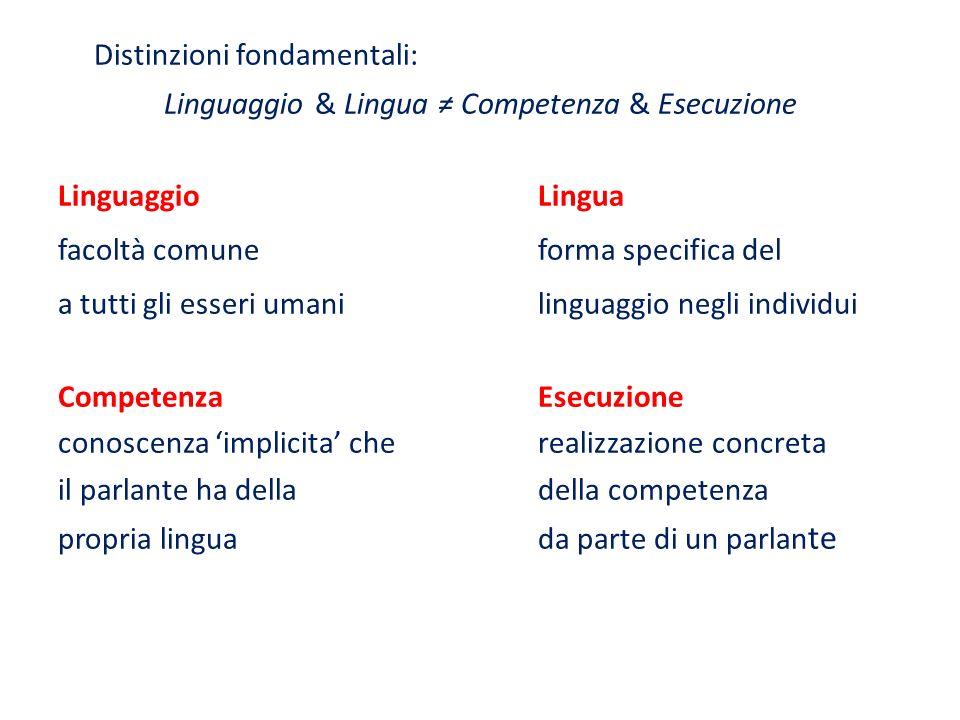 Distinzioni fondamentali: Linguaggio & Lingua Competenza & Esecuzione LinguaggioLingua facoltà comune forma specifica del a tutti gli esseri umaniling