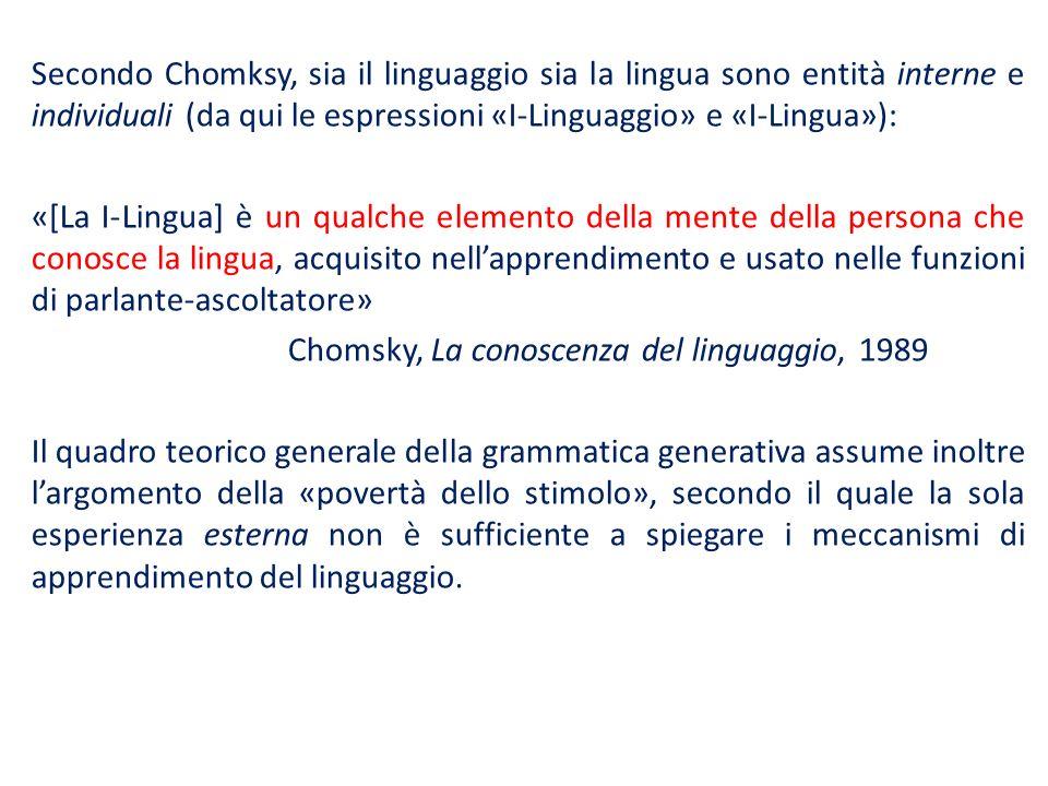 Secondo Chomksy, sia il linguaggio sia la lingua sono entità interne e individuali (da qui le espressioni «I-Linguaggio» e «I-Lingua»): «[La I-Lingua]