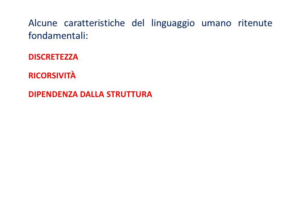 Alcune caratteristiche del linguaggio umano ritenute fondamentali: DISCRETEZZA RICORSIVITÀ DIPENDENZA DALLA STRUTTURA