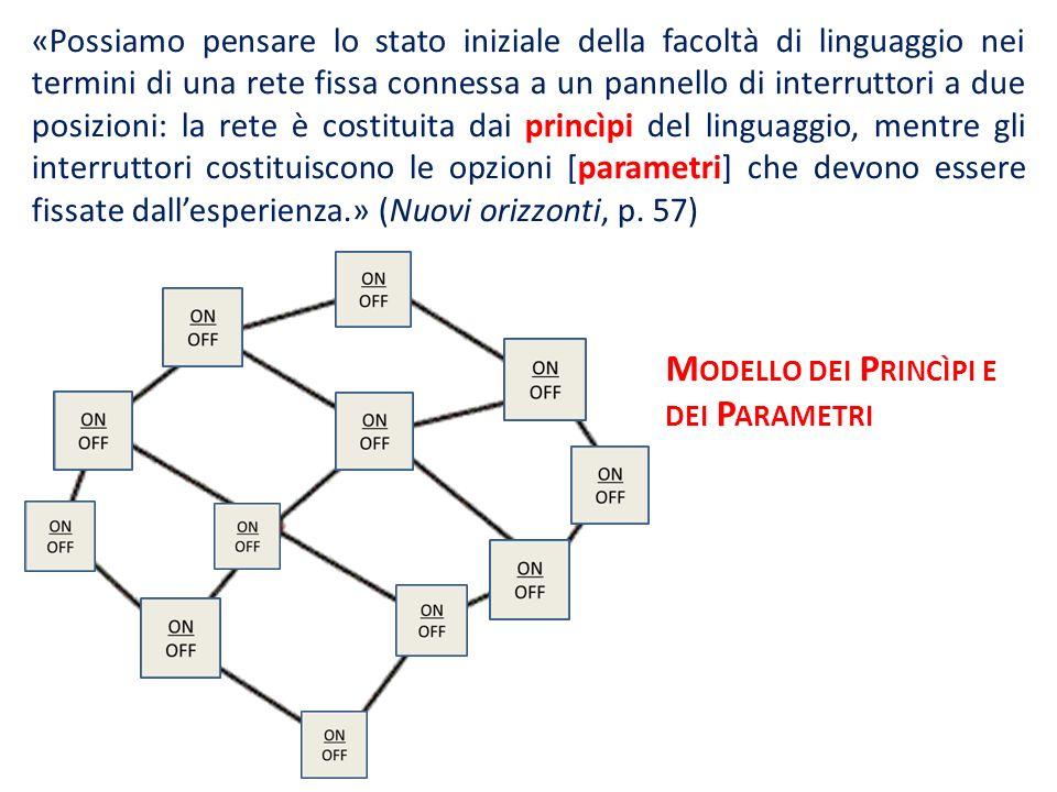 «Possiamo pensare lo stato iniziale della facoltà di linguaggio nei termini di una rete fissa connessa a un pannello di interruttori a due posizioni: