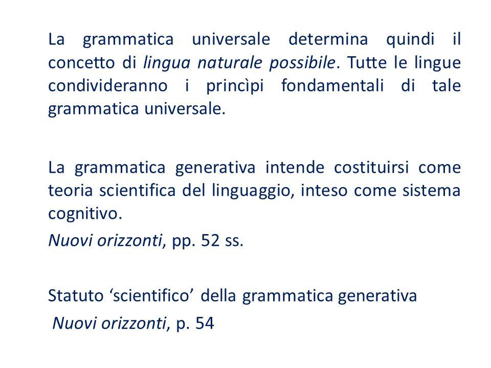 La grammatica universale determina quindi il concetto di lingua naturale possibile. Tutte le lingue condivideranno i princìpi fondamentali di tale gra