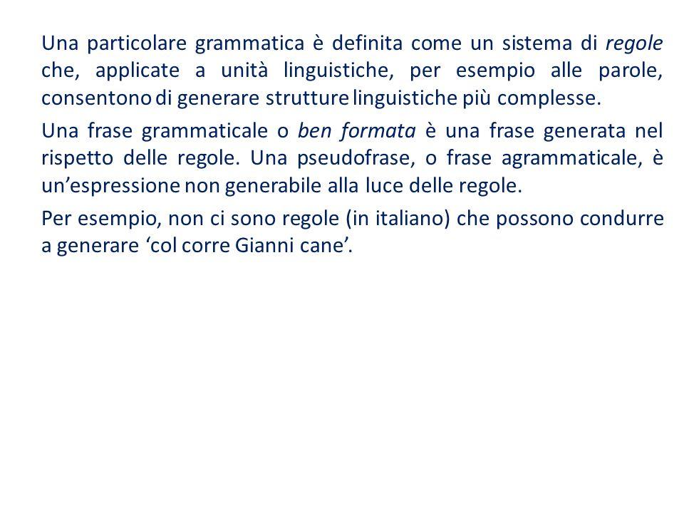 Una particolare grammatica è definita come un sistema di regole che, applicate a unità linguistiche, per esempio alle parole, consentono di generare s